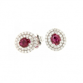 Salvini lobe earrings with diamonds and ruby 20057687