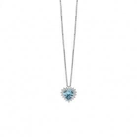 Salvini Halskette mit Diamanten und Aquamarin im Herzen 20077276