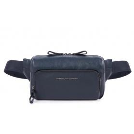 Piquadro Waist Bag line blue leather with shoulder strap - CA4491W89 / BLU