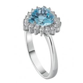 Salvini ring with diamonds and aquamarine Capri 20077275