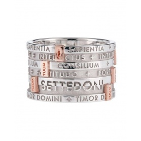Ring TUUM SETTEDONI silver rhodium and gold wide band