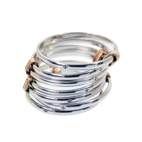 Anello TUUM SETTEDONI fili sottili argento ed oro rosa