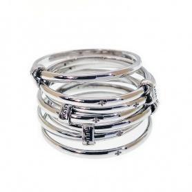 Anello TUUM SETTEDONI fili sottili argento rodiato - DONIL090C00
