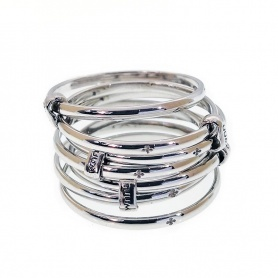 Ring TUUM SETTEDONI thin threads rhodium silver - DONIL090C00