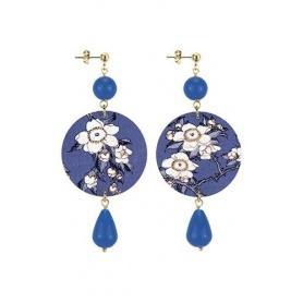 Lebole orecchino The Circle blu con fiori bianchi lungo