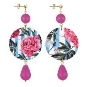 Lebole orecchino lungo The Circle Fuxia con fiori rosa e foglie