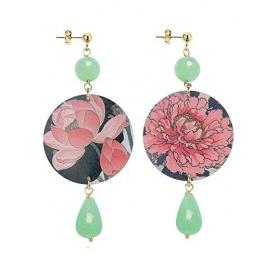 Lebole orecchino lungo The Circle Giada verde con fiori rosa