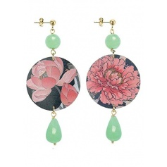 Lebole long earring The Circle Green jade with pink flowers