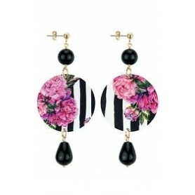 Lebole long earring The Circle black onyx pink striped flowers