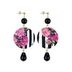 Lebole long earring The Circle black onyx pink striped flowers