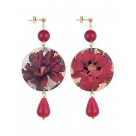 Lebole orecchino lungo The Circle Rubino con fiori rossi