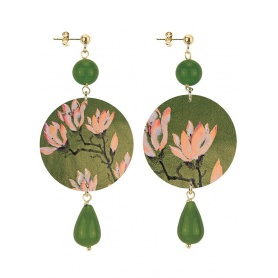 Lebole long earring The Olive green circle and pink lotus flower