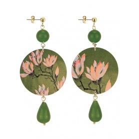Lebole orecchino lungo The Circle verde oliva e fiore di loto rosa