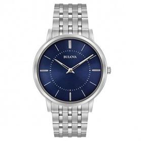 Bulovaultra slim steel watch blue indices luminova - 96A188