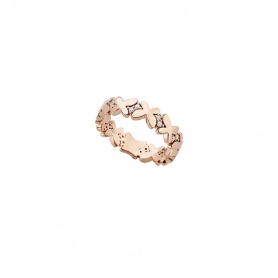 Ring narrow band Mimì Freevola rose gold and diamonds butterflies