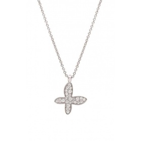 Mimì Freevola Roségold-Halskette mit Schmetterlingsanhänger in Diamanten