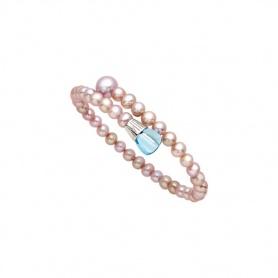 Mimì Lollipop lila Perlen-Armband mit blauem Topas und blauem Saphir