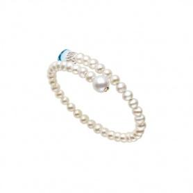 Mimì Lollipop Armband weiße Perlen mit blauem Topas und gelbem Saphir