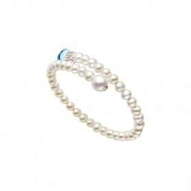 Mimì Lollipop bracelet white pearls with blue topaz and yellow sapphire
