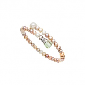 Mimì Lollipop bracelet multicolor pearls with prasiolite and orange sapphire