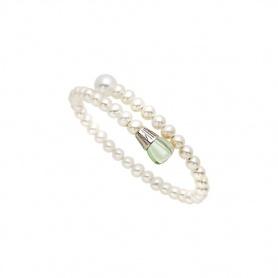 Bracciale Mimì Lollipop perle bianche con prasiolite e zaffiro viola