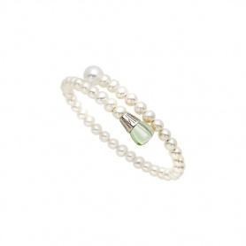 Mimì Lollipop bracelet white pearls with prasiolite and violet sapphire