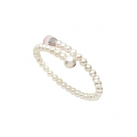 Mimì Lollipop Armband weiße Perlen mit Rosenquarz und Saphir