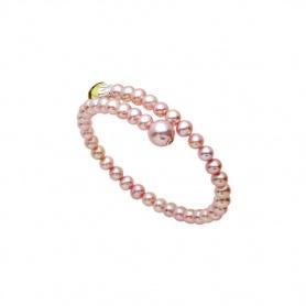 Bracciale Mimì Lollipop perle viola con quarzo lemon e zaffiro arancione
