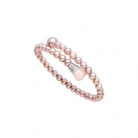 Bracciale Mimì Lollipop perle viola con quarzo rosa e zaffiro viola