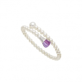 Bracciale Mimì Lollipop perle bianche con ametista e zaffiro rosa