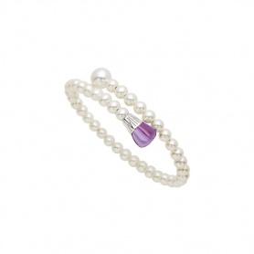 Mimì Lollipop Armband weiße Perlen mit Amethyst und rosa Saphir