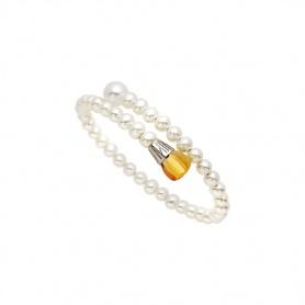 Bracciale Mimì Lollipop perle bianche con quarzo citrino e zaffiro viola