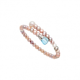 Mimì Lollipop bracelet multicolor pearls with blue topaz and purple sapphire