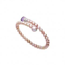 Bracciale Mimì Lollipop perle viola con ametista e Tsavorite