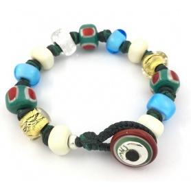 Moi Unico Armband mit Perlen aus Goldglas, Weißgrün und Hellblau