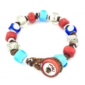 Moi Unico Armband mit blauen und roten Weißgold-Glasperlen