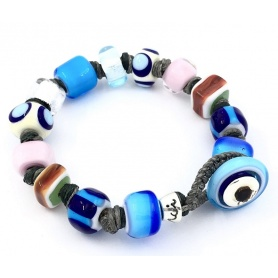Moi Unico Armband mit Perlen aus blauem Weißgoldglas