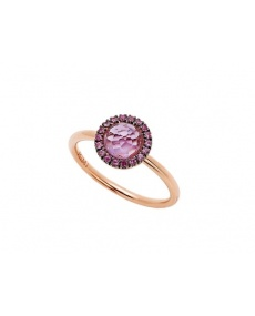 Mimì ring Happy rose gold with pavé of pink sapphires and amethyst