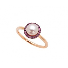 Mimì Happy Pink gold ring with pavé of pink sapphires and purple pearl