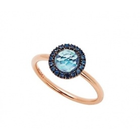 Mimì Happy Pink gold ring with sapphire pavé and central topaz