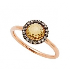 Mimì ring Happy rose gold with pavé diamonds and central citrine