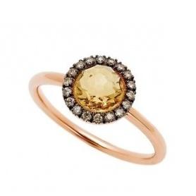 Mimi-Ring Happy Roségold mit Pavé-Diamanten und zentralem Citrin