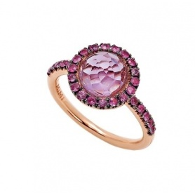 Mimì ring Happy rose gold with pink sapphire stem, amethyst and pavè