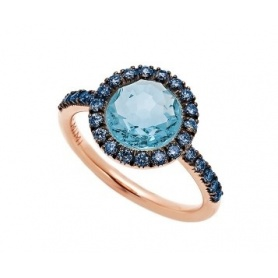 Mimì ring Happy rose gold with blue sapphire and blue topaz stem