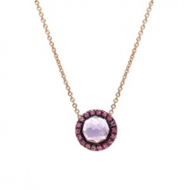 Mimì Happy rose gold necklace with amethyst and pavé of pink sapphires