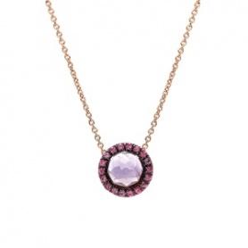 Mimì Happy Roségold-Halskette mit Amethyst und Pavé aus rosa Saphiren
