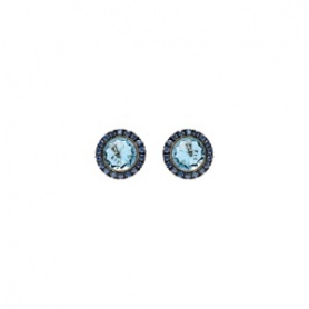 Mimì Happy pink gold earrings with blue topaz and blue sapphire pavé