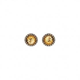 Mimì Happy Roségold-Ohrringe mit Diamantpavé und zentralem Citrin