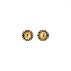 Mimì Happy rose gold earrings with diamonds pavé and central citrine