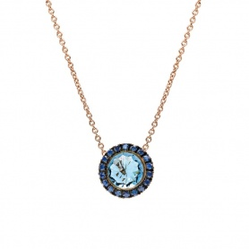 Mimì Happy rose gold necklace with blue topaz and blue sapphire pavé